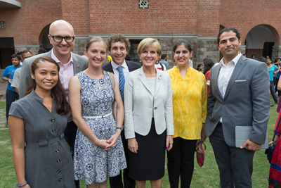 14 April 2015, New Delhi, India; The Hon. Julie Bishop, Australian Minister for Foreign Affairs mingles with representatives of the Australia-India Youth Dialogue after addressing the student body at St StephenÕs College, Delhi University, to promote Australian education and the New Colombo Plan during her visit to India to promote trade and investment opportunities for Australia. Picture by Graham Crouch/DFAT